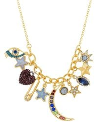 Steve Madden - Crystal Glass Charm Necklace - Lyst