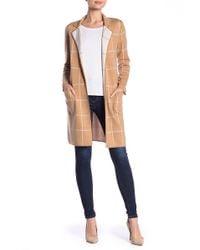 Minnie Rose - Windowpane Patterned Merino Wool Blend Duster - Lyst