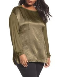 Sejour - Mixed Media Hoodie (plus Size) - Lyst