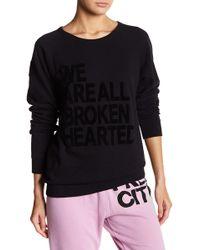 FREE CITY - Fuzzy Broken Hearted Raglan Sweater - Lyst