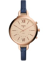 Fossil - Q Annette Hybrid Smart Leather Strap Watch, 38mm - Lyst