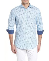 Bugatchi - Shaped Fit Zigzag Floral Sport Shirt - Lyst