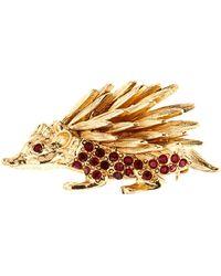Oscar de la Renta - Swarovski Crystal Embellished Porcupine Brooch - Lyst