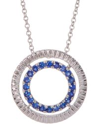 Bony Levy - Sapphire Circle Pendant With Etched 18k White Gold Halo - Lyst