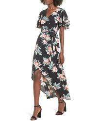 Mimi Chica - Ruffle Sleeve Floral Maxi Dress - Lyst