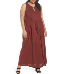 Sejour - Tie Waist Maxi Dress (plus Size) - Lyst