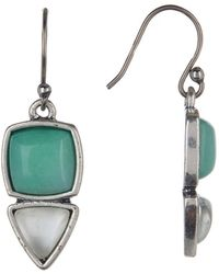 Lucky Brand - Bezel Set Double Drop Earrings - Lyst