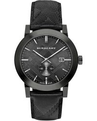 Burberry - Men's Check Stamped Leather Strap Watch, 42mm - Lyst