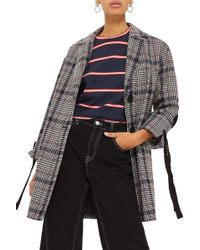 TOPSHOP - Lace-up Sleeve Check Coat - Lyst