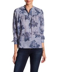 Lucky Brand - Floral Chambray Blouse - Lyst