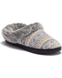 Dearfoams - Pattern Knit Faux Fur Slipper - Lyst