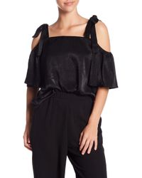 Soprano - Cold Shoulder Satin Blouse - Lyst