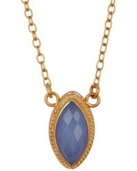 Anna Beck - 18k Gold Plated Sterling Silver Blue Chalcedony Marquis Necklace - Lyst