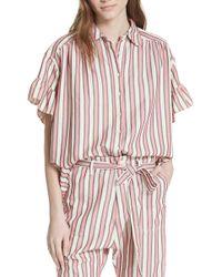 The Great - Flutter Sleeve Stripe Shirt - Lyst