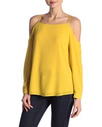 454f7baa356a9 Naked Zebra Surplice Neck Cold Shoulder Blouse in Yellow - Lyst