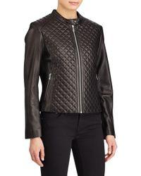Lauren by Ralph Lauren - Quilted Lambskin Leather Jacket (regular & Petite) - Lyst