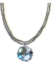Anzie - Beaded Gemstone Cluster Pendant Necklace - Lyst