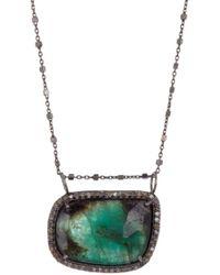 Adornia - Emerald & Diamond Halo Necklace - Lyst