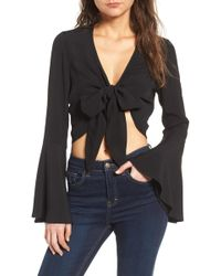 4si3nna - Tie Front Bell Sleeve Top - Lyst