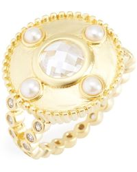 Freida Rothman - 14k Gold Plated Sterling Silver Audrey Cz & 2.5mm Freshwater Pearl Studded Cocktail Ring - Size 8 - Lyst