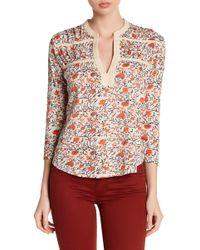 Lucky Brand - Floral Split Collar Blouse - Lyst