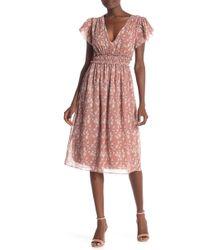 Max Studio - Flutter Sleeve Floral Midi Dress - Lyst c62675e8f