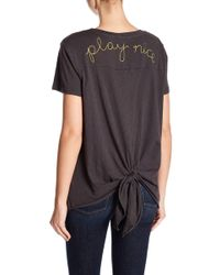 Sundry - Play Nice Embroidered Tie Back Tee - Lyst