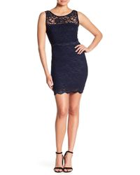 Jump - Lace Crew Neck Bodycon Dress - Lyst
