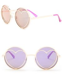 5cdc2fa13dbd4 Betsey Johnson - Round Heart Cutout Lens Sunglasses - Lyst
