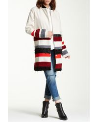 Endless Rose - Mixed Media Faux Shearling Detailed Stripe Coat - Lyst