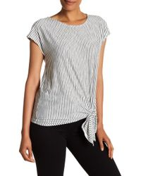 Max Studio - Striped Knotted Hem Tee - Lyst