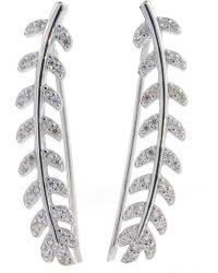 Adornia - Sterling Silver Swarovski Crystal Accented Leaf Ear Climbers - Lyst