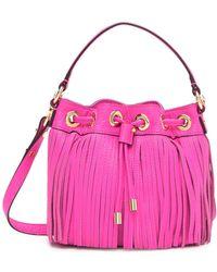 MILLY - Essex Fringe Small Drawstring Leather Handbag - Lyst