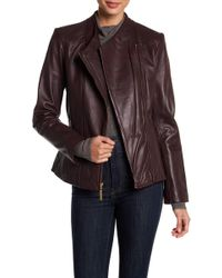 Ellen Tracy - Asymmetrical Zip Genuine Leather Jacket - Lyst