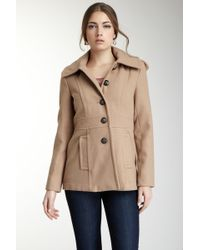 Kensie - Hooded Button Front Coat - Lyst