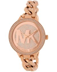 MICHAEL Michael Kors - Women's Slim Runway Pave Chain Bracelet Watch, 38mm - Lyst