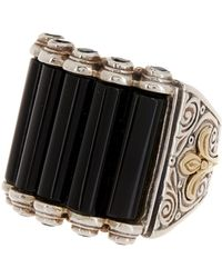 Konstantino - Two-tone Black Agate & Spinel Ring - Size 7 - Lyst