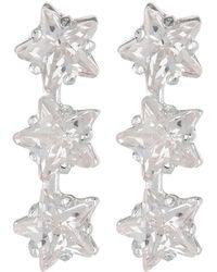 Argento Vivo - Sterling Silver Triple Star Cz Bar Earrings - Lyst