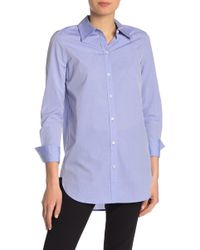 Theory Classic Tuxedo Button Front Shirt - Blue