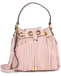 MILLY - Essex Fringe Small Drawstring Leather Handbag - Lyst