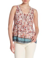 Skies Are Blue - Lace Inset Floral Tank - Lyst