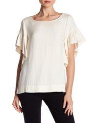 Cece by Cynthia Steffe - Extended Ruffle Cap Sleeve Polkadot Shirt - Lyst