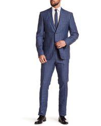 CALVIN KLEIN 205W39NYC - Mabry Denim Windowpane Trim Fit Linen Suit - Lyst