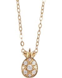 Nadri - 18k Gold Plated Brass Cz Pineapple Pendant Necklace - Lyst