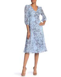 Donna Morgan - V-neck Star Print A-line Midi Dress - Lyst