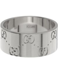 Gucci - 18k White Gold Icon Engraved Band Ring - Size 8.75 - Lyst