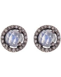 Adornia - Sterling Silver Echo Moonstone & Champagne Diamond Halo Stud Earrings - Lyst