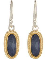 Anna Beck - 18k Gold Plated Sterling Silver Oval Sapphire Drop Earrings - Lyst
