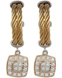 Alor - 18k Yellow Gold, Stainless Steel & Yellow Pvd Diamond Drop Hoops - 0.27 Ctw - Lyst