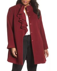 Tahari - Kate Ruffle Wool Blend Coat (plus Size) - Lyst